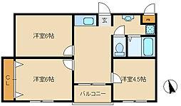 兵庫県尼崎市宮内町2丁目の賃貸マンションの間取り