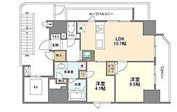 ディームス三田 13階1LDKの間取り