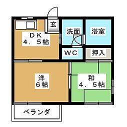 タウニー矢田[1階]の間取り