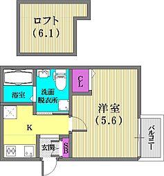 兵庫県神戸市兵庫区切戸町の賃貸アパートの間取り