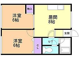 シティハイムタカモト 1階2DKの間取り