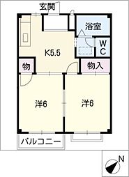ドミール横山 B棟[2階]の間取り