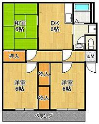 ハーモニーマンションE棟[1階]の間取り