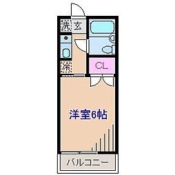 神奈川県横浜市港北区大倉山5丁目の賃貸アパートの間取り