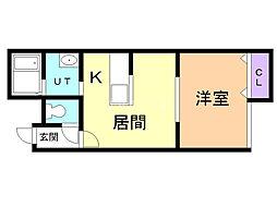 Shin 1階1DKの間取り
