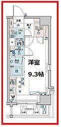 レグゼ東京ノースII 4階ワンルームの間取り