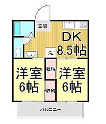 エクセレンス笹沖[3階]の間取り