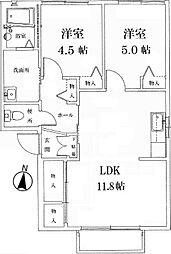兵庫県姫路市新在家本町5丁目の賃貸アパートの間取り