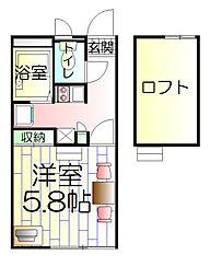 東京都足立区千住緑町3丁目の賃貸アパートの間取り