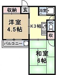 秋岡マンション[2号室号室]の間取り