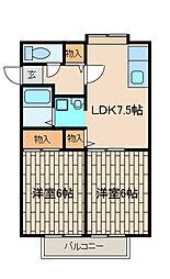 ラ・プルミエール3[2階]の間取り