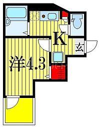 JR総武線 船橋駅 徒歩14分の賃貸アパート 2階1Kの間取り