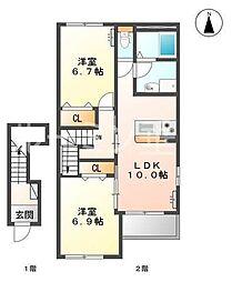 仮 三木市本町新築アパート[205号室]の間取り