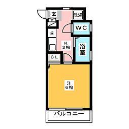 ライオンズマンション大博通り[6階]の間取り
