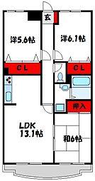 JR鹿児島本線 赤間駅 徒歩12分の賃貸マンション 1階3LDKの間取り