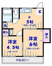 第2山文荘[202号室]の間取り