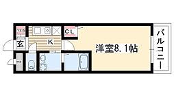 愛知県名古屋市名東区社が丘3丁目の賃貸アパートの間取り