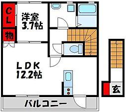 JR鹿児島本線 赤間駅 徒歩7分の賃貸アパート 2階1LDKの間取り