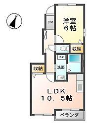 愛知県清須市西枇杷島町城並3丁目の賃貸アパートの間取り