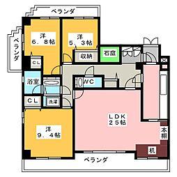 三旺マンション猫洞[6階]の間取り