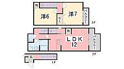 兵庫県神崎郡福崎町南田原の賃貸アパートの間取り