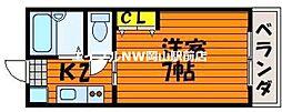 岡山県岡山市北区津倉町2丁目の賃貸マンションの間取り