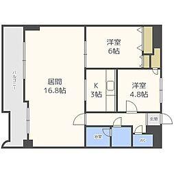 北海道札幌市中央区宮の森二条5丁目の賃貸マンションの間取り