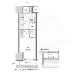 名古屋市営東山線 新栄町駅 徒歩9分の賃貸マンション 15階1Kの間取り