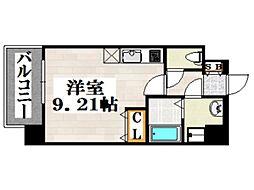 JR鹿児島本線 吉塚駅 徒歩6分の賃貸マンション 9階ワンルームの間取り