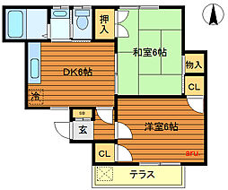 東京都三鷹市牟礼5丁目の賃貸アパートの間取り
