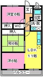 サンシャイン須玖[302号室]の間取り