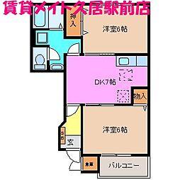三重県津市西古河町の賃貸アパートの間取り