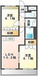 岡山県倉敷市連島2の賃貸アパートの間取り