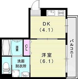 コウリュウマンション 1階1DKの間取り