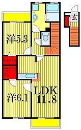 メゾンドベルII[2階]の間取り