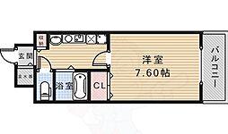 エコロジー宝塚レジデンス 8階1Kの間取り