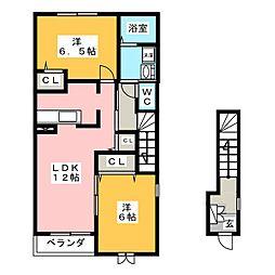 メゾンアンジュ琴塚B[2階]の間取り