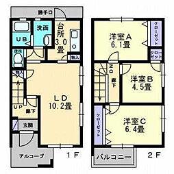 [テラスハウス] 愛媛県松山市居相6丁目 の賃貸【/】の間取り