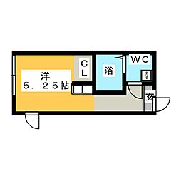 (仮称)鶴見区岸谷2丁目アパートNo.3新築工事 1階ワンルームの間取り