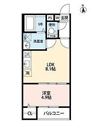 T.A上飯田東町5丁目 2階1LDKの間取り