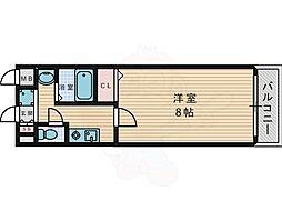 京阪本線 香里園駅 徒歩9分の賃貸マンション 8階1Kの間取り