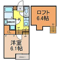 愛知県名古屋市西区新福寺町1丁目の賃貸アパートの間取り