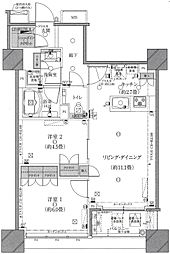 ザ・湾岸タワーレックスガーデン 28階2LDKの間取り