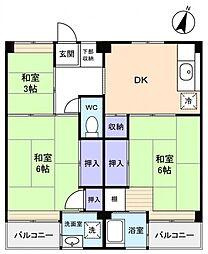 ビレッジハウス勝田2号棟[4階]の間取り