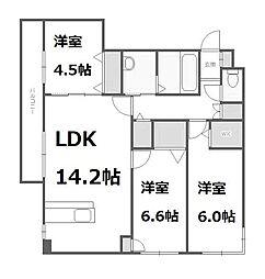 北海道札幌市西区発寒七条11丁目の賃貸マンションの間取り