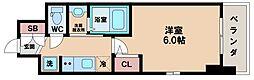 エステムコート難波サウスプレイスVIラグジー 2階1Kの間取り