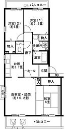 兵庫県三田市すずかけ台4丁目の賃貸マンションの間取り