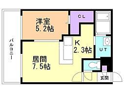 サンコート円山ガーデンヒルズ 9階1LDKの間取り