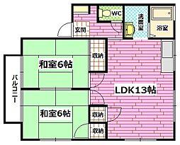 広島県広島市安芸区矢野西1の賃貸アパートの間取り