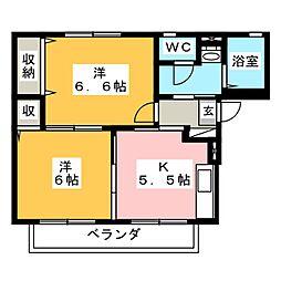 サンベール榎田A[2階]の間取り